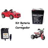 Kit Bateria 6v 4ah + Carregador P/ Moto Elétrica Brinquedos