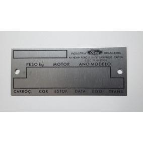 Tarjeta Plaqueta Placa Identificação Ford