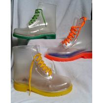 Botas Transparentes Lluvia Dr Martin Suela Colores Flores