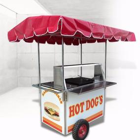 Carrito Hot Dogs Hamburguesas Carreta Carro Puesto Acero Ino