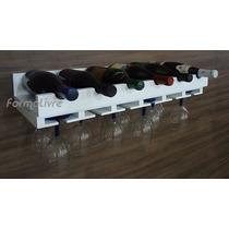 Porta Taças E Prateleira Adega Decorativa Vinho Bares Branco