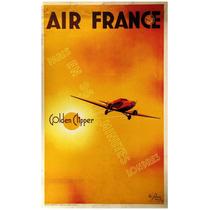 Lienzo Tela Anuncio Air France 80 X 50 Cm Poster Avión