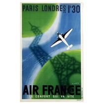Lienzo Tela Anuncio Air France Paris Londres 80 X 50cm Avión