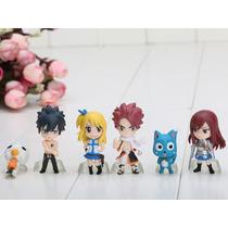 6 Miniaturas Fairy Tail Kit Natsu Lucy Erza Happy Estatua