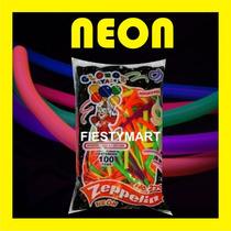 100 Globos Salchicha Neon Fluorescentes Fiesta Dj Boda Xv