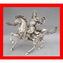 Estatua De Plata Tibetana Guerrero Del Tibet Feng Shui