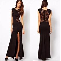 Sexy Vestido Negro Con Encaje. Fiesta. Ajustable Al Cuerpo,