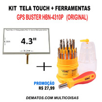 Tela Touch Gps Buster Hbn-4310 4.3 Original Kit 2 Em 1