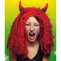Peluca De Diabla Roja Con Mechas Negras Y Cuernos Halloween