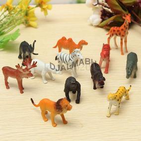 Coleção Animais Miniaturas Bonecos Festas Criança - 12 Uni