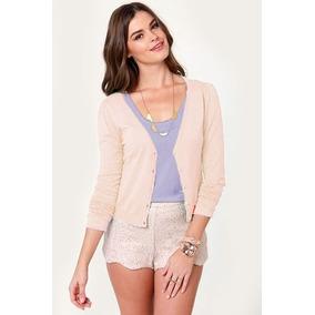 Saquito Sweater De Hilo Y Lycra Color Natural. Calado