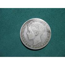 Moneda 1 Una Peseta 1900, España Km# 706 De Plata