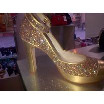 Zapato De Fiesta Dorado Glitter - Chiarini