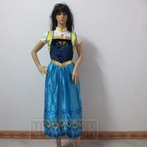 Vestido Adulto Anna Elsa Frozen Fever Luxo Pronta Entrega