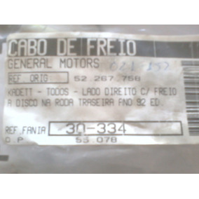 Cabo Freio De Mao Trase L/d Kadet Freio Disco Apos 92
