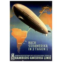 Lienzo Tela Anuncio Zeppelin Alemania 1935 72x50 Poster Avió