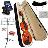 Violino 4/4 Com Case Afinador Estante Partitura Arco Breu