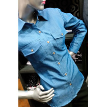 Camisa Para Dama Manga Larga Jeans / Denim Talla Xl 2xl 3xl