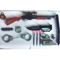 Rifle Arminha Kit Policial 13 Pçs Espingarda Kit Fantasia
