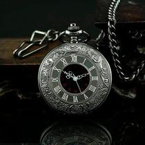 Relógio De Bolso Steampunk Preto C/ Corrente Retro Vintage