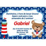 Convite Digital Personalizado Ursinho Marinheiro