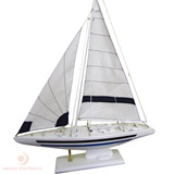 Barco A Vela Branco G 50cm Decorativo