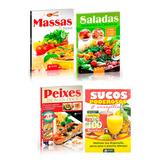 Kit Livros Culinária Massas Saladas Sucos Peixes Discovery