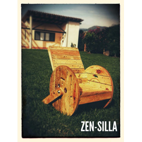 Silla Reclinable De Madera Reciclada Y Carrete