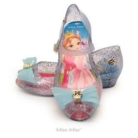 Anabela Infantil Laço 3 Cortes - Azul Gliter - Miss Miss