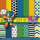 Kit Digital Editavel Scrapbook Fundo Futebol Brasileiro