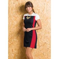 Vestido Malha Elanca Preto, Vermelho E Branco=gg=110 Cm Bust