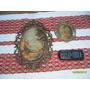 Lote 2 Cuadros Marco Metal Bronceado Labrado Imagen Romántic
