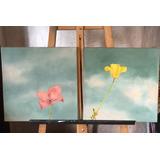 Cuadro Pintado A Mano Acrilico Flores Rosa