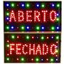 Letreiro Led Placa Luminosa 2 Em 1 Aberto Fechado 110v