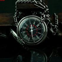 Relógio Bolso Steampunk Preto C/ Corrente Retro Vintage