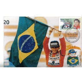 Ayrton Senna Foto Com Selo E Carimbo Comemorativo Gp Brasil