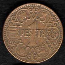Moneda España 1 Peseta 1944 Xf Muy Buena