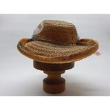 Antiguo Sombrero De Rafia Natural Tul Negro Sobre Copa Y Ala