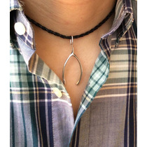 Collar Trenzada Moda Dije Wishbone Hueso De La Suerte Plata