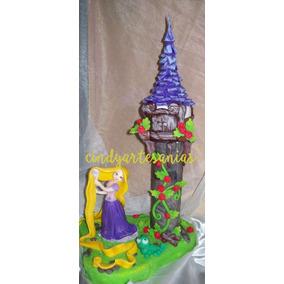 Adorno De Torta Rapunzel Con Torre Porcelana Fria