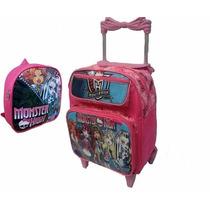 Mochila Escolar Infantil Monster High C Rodinhas Baby Brinde