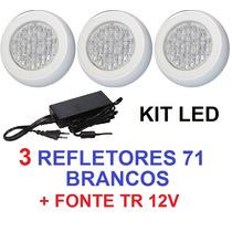 Kit 3 Led Brancos + Fonte Eletronica Para Piscina