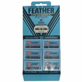 01 Cartela Com 60 Laminas De Barbear Feather Ct950200