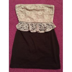 Limpia De Closet Vestido Peplum Cafe Con Beige, Talla S