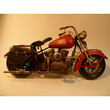 Moto Chopper Decorativa En Escala Roja Sin Respaldo-chapa