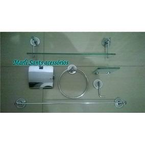 Kit Banheiro Inox C/porta Shampoo E Saboneteira De Vidro