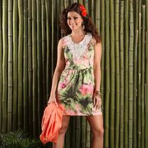 Vestido Floral Tropical Aplicação Renda Guipir