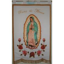 Estandarte Virgen De Guadalupe Bordado Fino Con Cara Real.