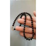 Collar Piedra Natural Onix Negro Con Bolitas Y Cierre Oro14k