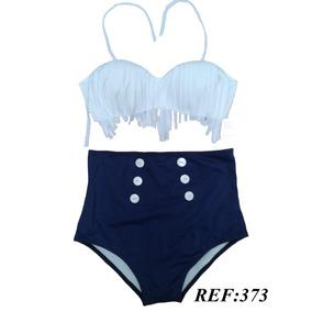 Biquíni,hot Pants, Cintura Alta,branco Com Franja